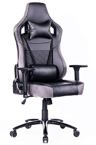 Blue Whale Big and Tall Waist Massage Gaming Chair with Metal Base and Aluminum Alloy 3D Armrests-PC Computer Video Game Chairs-Ergonomic Executive Reclining PU Leather Office Desk Chair Grey