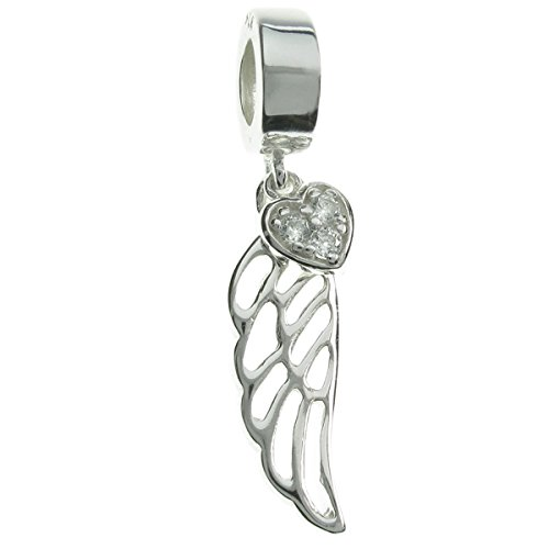 - Queenberry Sterling Silver Angel Wing Cubic Zirconia Heart European Style Dangle Bead Charm