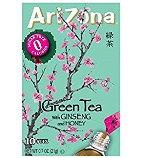 AriZona Green Tea with Ginseng and Honey Sugar Free Iced Tea Stix, 10 Count, (Pack of 12)