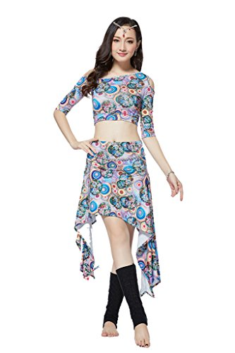 [ZLTdream Women's Diamond Belly Dance Costume Top And Short Skirt 2PCS/Set Blue] (Larger Ladies Halloween Costumes)