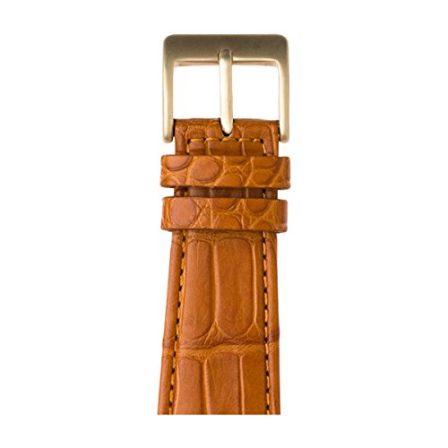 Roobaya | Premium Alligator Leather Apple Watch Band in Cognac | Includes Adapters matching the Color of the Apple Watch, Case Color:Gold Aluminum, Size:42 mm by Roobaya