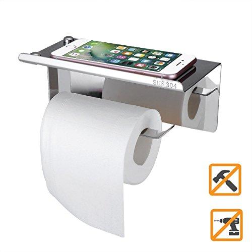 Sendida Bathroom Toilet Paper Holder - No Drills SUS304 Stainless Steel Toilet Paper Shelf for Cellphone Rack Wall Mount Organization Bathroom Tissue Roller Holder with Phone Storage Shelf