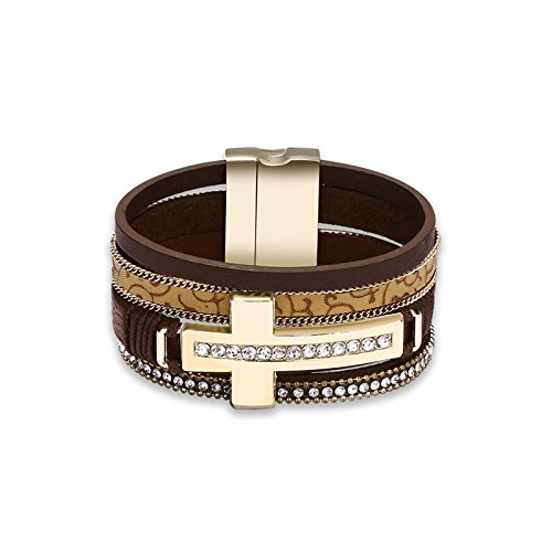 Beydodo Womens Charms Bracelet, Gold Plated Bracelet Bangle Brown Chain Crystal Cross Gifts for Women