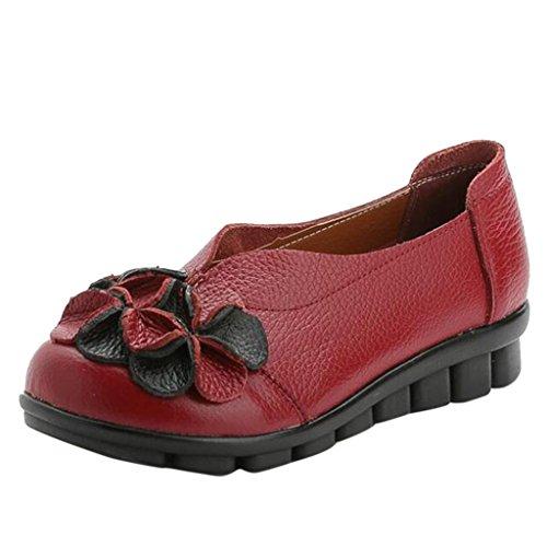 Binying Doux Semelle Cuir avec Chaussures Talon Fleur Plate Rouge Femme rarqFw6