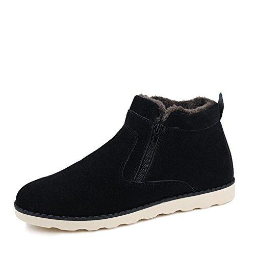 Leader Show Men's Winter Fur Lined Snow Boot Side Zipper Ankle High Warm Shoe (6.5, Black)