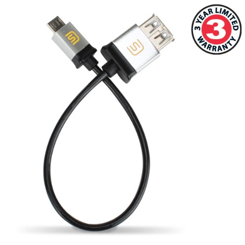 Accessory Genie Datastream Micro USB OTG to USB 2.0 Host Cable Adapter for USB On-The-Go Compatible Devices to use with Select Canon and Nikon DSLR Cameras Bundle with Mini Tripod – 6 Inch