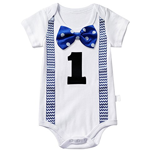 NNJXD Baby Boys' Funny First Birthday Bow Tie Infant Romper Bodysuit Size (1 Years) Point -