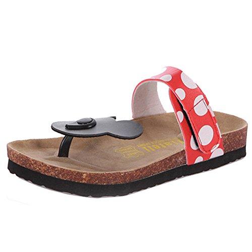 TAOFFEN Women Disney Mickey Mouse Dote Flip Flops Comfort Flat Sandals