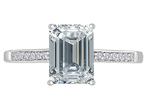 (Star K Genuine White Topaz and Diamond Solitaire Engagement Ring 14 kt White Gold Size 7)