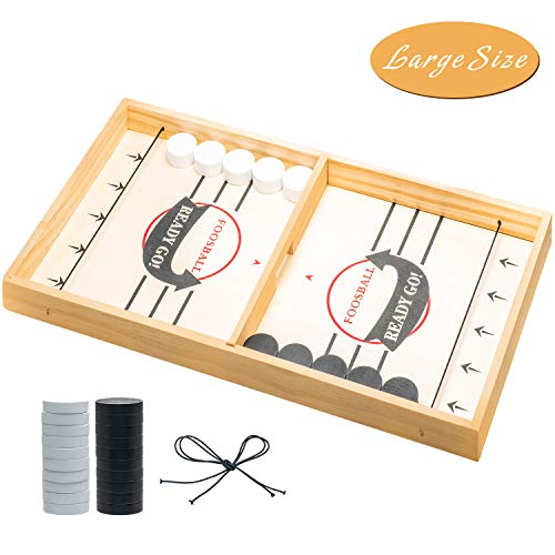 PUBGAMER Fast Sling Puck Game, Sling Games Fast Sling Puck Table Game Paced Sling Puck Winner Wood Board Sport Toys (Large Size Suitable for Adult & Friend), Come with Spare Piece and Spring Rope