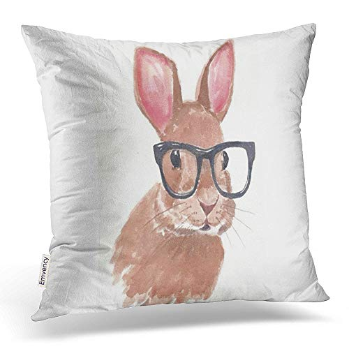 - Accrocn Throw Pillow Covers cute funny easter bunny rabbit glasses Pillowcases Polyester 18 x 18 Inch Square With Hidden Zipper Home Sofa Cushion Decorative Pillowcase