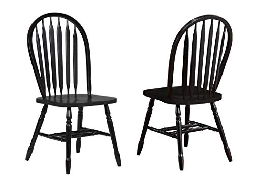 Sunset Trading DLU-820-AB-2 Black Cherry Selections Dining Chairs, Distressed Antique rub Through ()