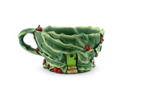 Planter Holly (Miniature Fairy Garden Holly Leaf Holiday Teacup Planter)