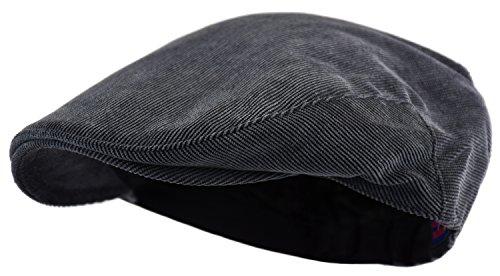 Men's Classic Herringbone Tweed Wool Blend Newsboy Ivy Hat (Large/X-Large, Corduroy Charcoal)