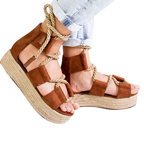 Sanyyanlsy Women Flock Solid Color Bandage Sandals Hollow-Out Platform Peep Toe Gladiator Sandals Cover Heel Shoes Brown