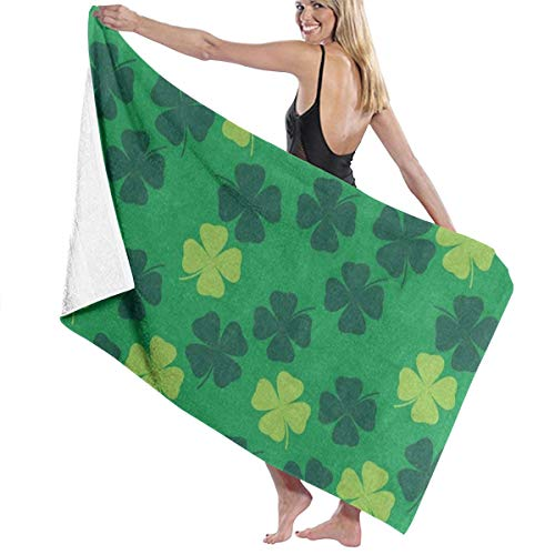 (Beach Bath Towel Green Clover Leaf Personalized Custom Women Men Quick Dry Lightweight Beach & Bath Blanket Great for Beach Trips, Pool, Swimming and Camping 31