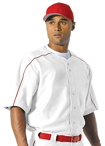 (A4 Men's New 2-Way Stretch Warp Knit Baseball Jersey, Wht/Scarlet Red, X-Large)
