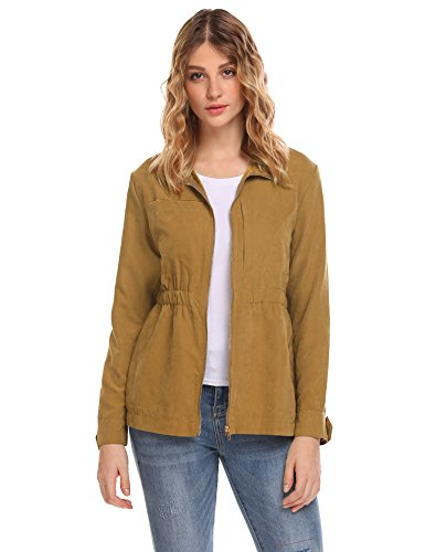 (SummerRio Women's Faux Suede Leather Motorcycle Jacket Belted Coat with Zipper)