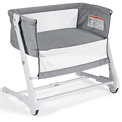 BABY JOY Baby Bedside Crib, 2 in 1 Height & Angle Adjustable Sleeper Bed Side Bassinet w/Detachable & Washable Mattress, Straps, Easy Folding Movable Cradle for Newborn Infants, Breathable Mesh (Gray) from Baby Joy
