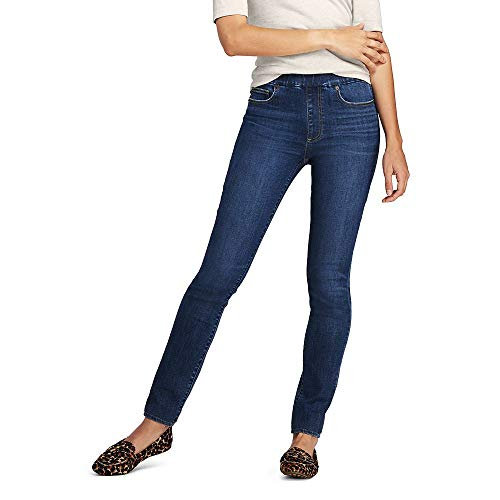 Lands' End Women's Mid Rise Pull On Skinny Blue Jeans, 18 32, Heron Blue
