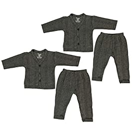 Baby Thermal Wear Front Open Top and Bottom Set (Combo of 2 Sets), Newborn