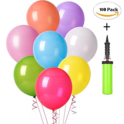 100 Pack Super Strong and Thick Pearl Balloons Bonnus 01 Air Pump, Assorted Color Party Balloons, 12 Inch Premium Quality 2.8gr Balloons for Parties, Wedding, Birthday, Baby Shower Decoration and Even (Lights Neo Neon Christmas)