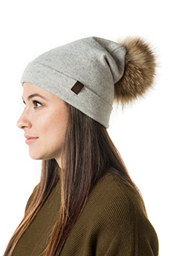 Marino's Knit Pom Beanie Winter Hat, Cashmere Blend Womens Knit Hats for Winter with Snap-On Rabbit Fur Pompom - Light Gray