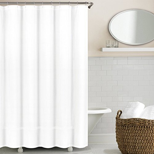 Echelon Home Three Line Hotel Collection Matelasse Shower Curtain White