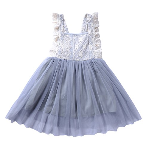 puseky Princess Toddler Girls Backless Lace Dress Ruffle Tulle Tutu Pageant Sundress (Grey, 5T) Floral Lace Sundress