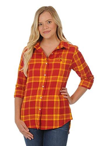 UG Apparel NCAA Iowa State Cyclones Women's Boyfriend Plaid Roll Up Sleeve Shirt, Crimson/Gold, Small
