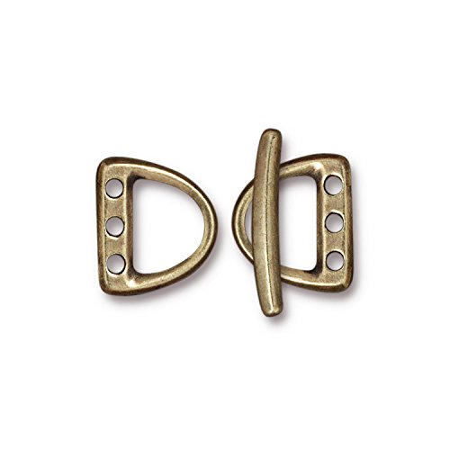 - TierraCast 3hole D Ring Toggle, 15mm, Antique Brass Oxide Finish Pewter, 1-Set/Pack