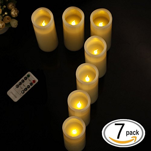 OShine Flameless Candles,LED Candles Set of 4 5' 6' H(3.15' D) Flickering flame with Remote and Timer Real Wax Pillar | Bathroom, Kitchen, Home Decoration | 10-Key Control | Reusable, 31, Ivory