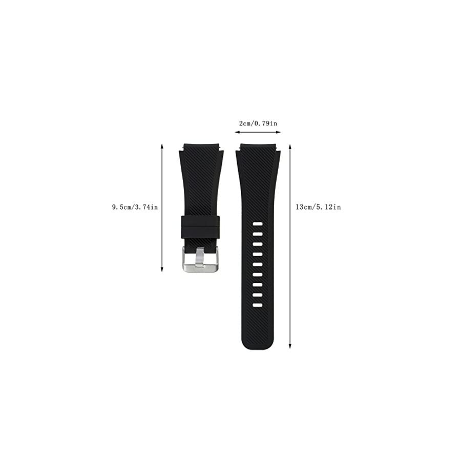 SCASTOE Silicone Bracelet Watch Strap Band L Size Wristband for Samsung Gear S3 Frontier Classic Black