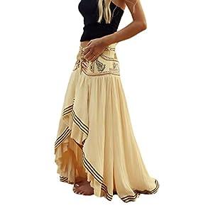 Mujer Faldas Largas Verano Playa Elegantes Vintage Hippies Boho Impresa Falda Cintura Alta Irregular Dobladillo Falda… | DeHippies.com