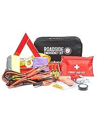 Kit de emergencia para asistencia en carretera   Kit de primeros auxilios, cables de arranque, luz de remolque, luz de flash LED, capa de lluvia, medidor de presión de los neumáticos, chaleco de seguridad y más accesorio ideal de invierno para su coche, c