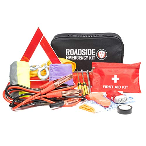 - Roadside Assistance Emergency Car Kit - First Aid Kit, Jumper Cables, Tow Strap, led Flash Light, Rain Coat, Tire Pressure Gauge, Safety Vest and More Ideal Winter Accessory for your Car, Truck or SUV