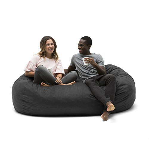 Big Joe 0002655 Media Lounger Foam Filled Bean Bag Chair, Black Lenox