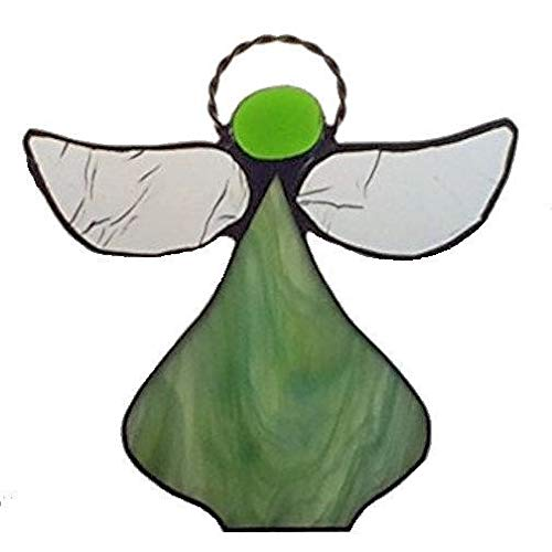 Artic Fox Handcrafted Angel (Lime Green) Suncatcher Stained Glass Ornament