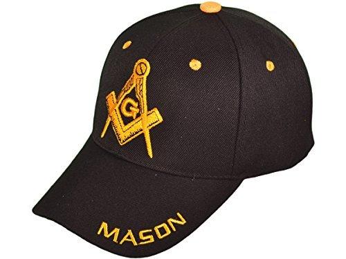 Freemason Mason Symbol Adjustable 3D Embroidery Baseball Cap Hat (Black) Masonic Baseball Cap