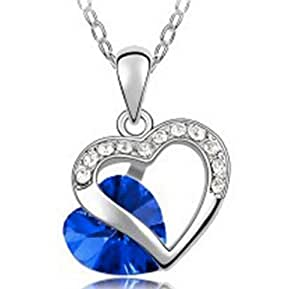 Lovers2009 Girls Popular Pendant Refinement Diamond Jewelry Heart Shape Crystal Necklace -Soulmate (Blue)