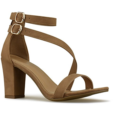 Premier Standard Womens Strappy Open Toe High Chunky Heel - Sexy Stacked Wooden Heel Sandal - Cute Strappy Shoe, TPS Heels-7Neleh Tan Size 6 Sexy Chunky Heel