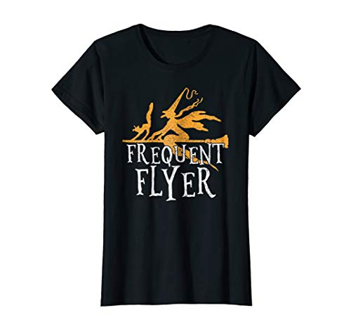 Womens Frequent Flyer T-Shirt Funny Witch Halloween Party