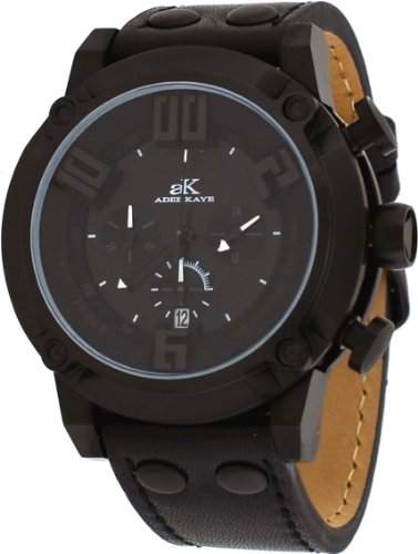 Adee Kaye #AK7280-MIPB Men's Black IP 3-D Pop Stainless Steel Leather Band Chronograph Watch