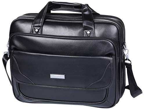 Black Expandable Messenger Bag - BOLO ARES Leather Laptop Briefcase 16 inch Water Resistant Large & Expandable Shoulder Bag Business Handbag Messenger Bag for 15.6 inch Laptop (BC4-Black)