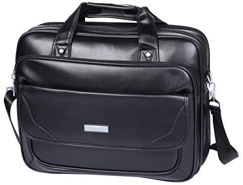 case 16 inch,BOLO ARES Water Resistant Large & Expandable Shoulder Bag Business Handbag Messenger Bag for 15.6 inch Laptop (BC4-Black) ()