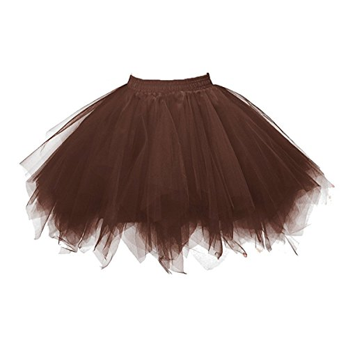 Honeystore Women's Short Vintage Ballet Bubble Puffy Tutu Petticoat Skirt Brown -