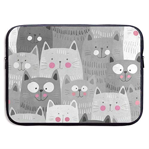 Funny Design Gray Hipster Cat Kitten Laptop Sleeve Waterproof Neoprene Diving Fabric Protective Briefcase Laptop Bag for IPad, Notebook/Ultrabook/Acer/Asus/Dell
