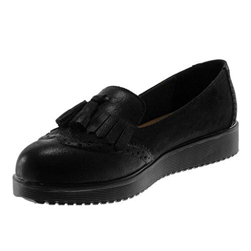 Shoes On Mocassins Angkorly Material Women's Wedge Pom cm Fringe Fashion Black Slip Platform Pom Metallic Bi Perforated 3 XtqtwEgxnR