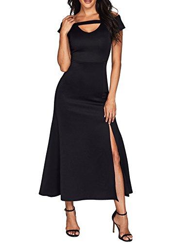 Dearlove Womens Sexy V Neck Cold Shoulder Short Sleeve Maxi Long Dress
