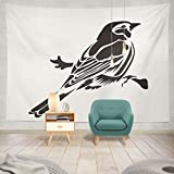 threetothree Tapestry Stencil Bird White Black Sign Emblem Symbol Stamp Simple Sketch Hanging Tapestries 60 x 80 inch Wall Hanging Decor for Bedroom Livingroom Dorm